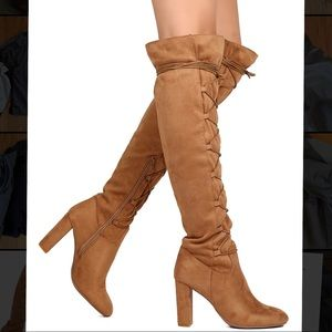 Qupid Tan Suede Lace Up Over the Knee Boots